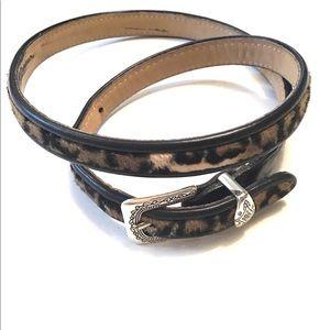 Vintage Brighton Leopard Black Leather Belt